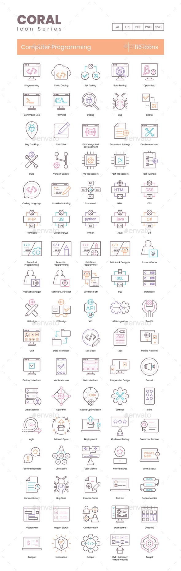 85 Computer Programming Icons - Coral Series