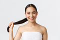 Beauty, hair loss products, shampoo and hair care concept. Close-up of beautiful asian woman in bath - PhotoDune Item for Sale