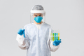 Covid-19, medical research, diagnosis, healthcare workers and quarantine concept. Doctor in personal - PhotoDune Item for Sale