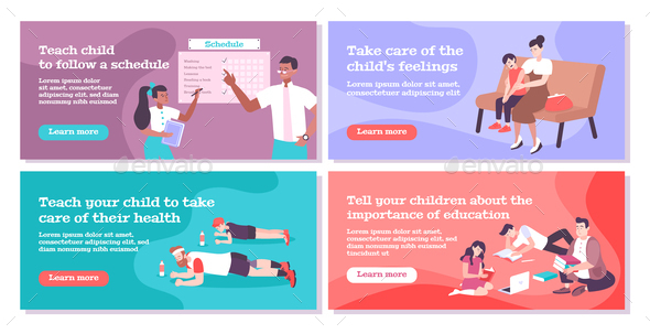 Parenting Flat Banners