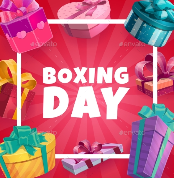 Boxing Day Vector Frame with Gift Boxes, Poster
