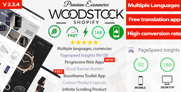 Woodstock - Fastest Shopify Sections Theme -Free Multilanguage App - PageSpeed 99/100 - Multipurpose