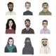 Vector Set of Cartoon Arabian Faces - GraphicRiver Item for Sale