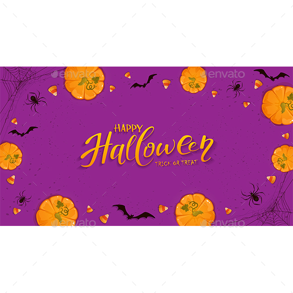 Purple Halloween Background with Pumpkins and Spiders