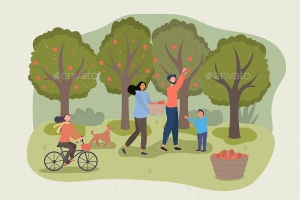 Family Harvesting Apples