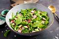 Vegetarian vegetable salad of radish, cucumbers and spinach. Healthy  vegan food. - PhotoDune Item for Sale