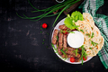 Pork kebab with pita bread with green onions.  Top view, overhead, copy space - PhotoDune Item for Sale