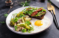 Breakfast with fried egg, broccoli, mushrooms and tomato sandwich. Healthy balanced food. - PhotoDune Item for Sale