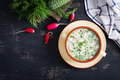 Okroshka. Cold summer soup with yogurt and vegetables in bowl. Top view, overhead, flat lay - PhotoDune Item for Sale