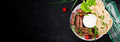 Pork kebab with pita bread with green onions.  Top view, banner, copy space - PhotoDune Item for Sale
