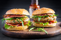 Big sandwich - hamburger burger with turkey meat,  tomato,  bacon and lettuce. - PhotoDune Item for Sale