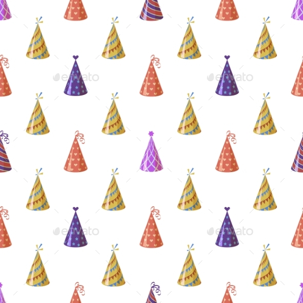 Party Caps. Seamless Pattern Bright Multicolor