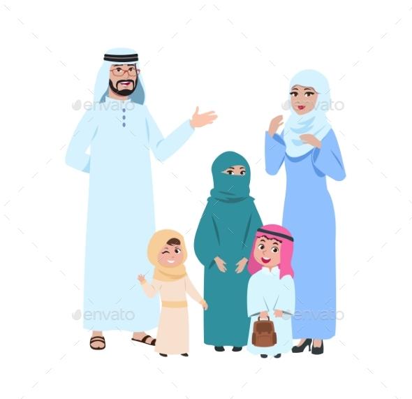 Happy Arab Family. Muslim Young People, Islamic