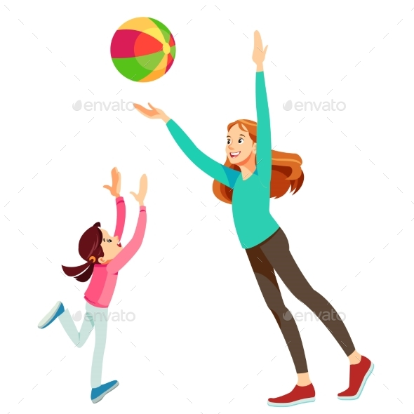 Mother and Daughter Having Fun with a Ball