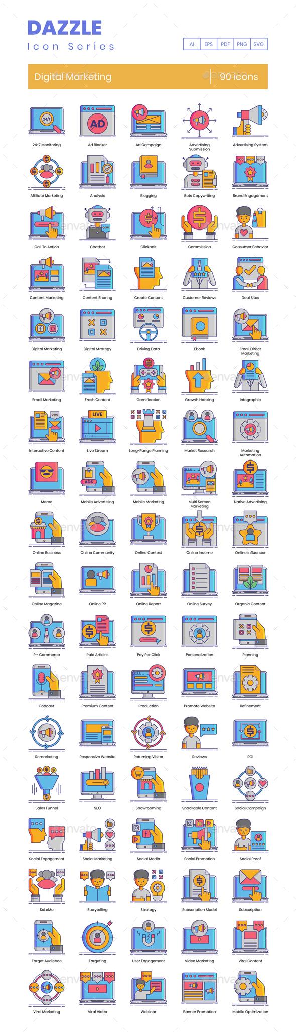 90 Digital Marketing Icons - Dazzle Series