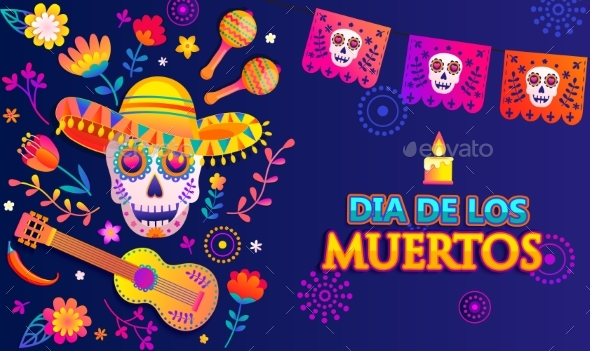 Bright Banner for Day of the Dead with Flags