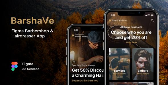Barshave - Figma Barbershop & Hairdresser App