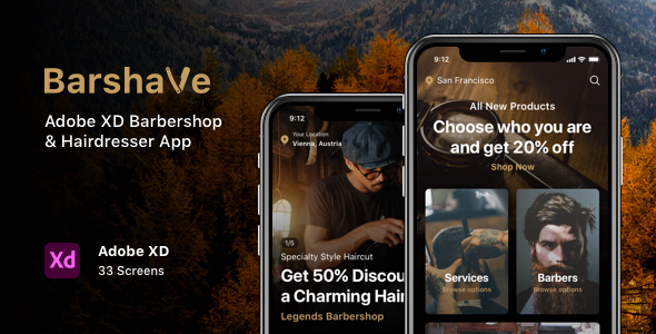 Barshave - Adobe XD Barbershop & Hairdresser App