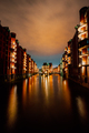 Hamburg, Germany. View of Wandrahmsfleet at dusk illumination light with reflection in the water - PhotoDune Item for Sale