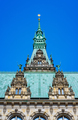 Decorated emerald colored roof and facade of the beautiful famous Rathaus Hamburg town hall in - PhotoDune Item for Sale
