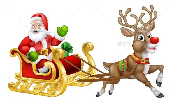 Santa Claus Christmas Reindeer Sleigh Sled Cartoon