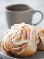 Vegan cinnamon rolls with topping, top view - PhotoDune Item for Sale