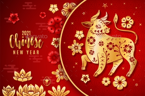 Chinese New Year 2021. Traditional Poster with Red