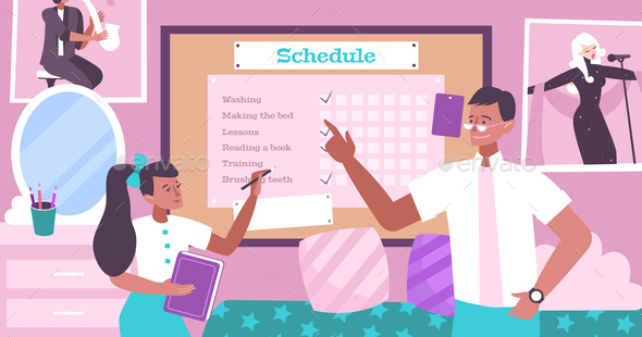Schedule For Kid Flat Background