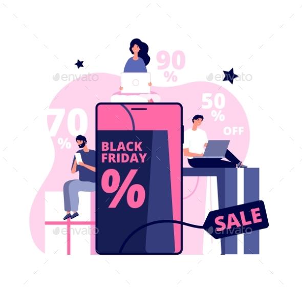 Black Friday Online. Shopping Man Girl, People
