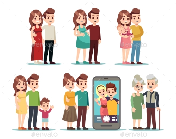 Happy Family Stages. Cartoon Kid Parents, Young