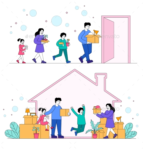 Family Moving To Anew House Concept