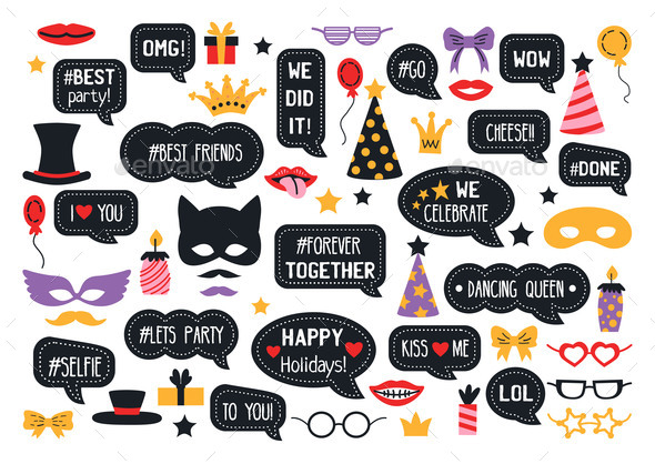 Party Photo Booth Props Photobooth Vector Set