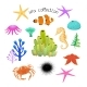Sea Collection with Underwater Animals on White - GraphicRiver Item for Sale
