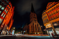 Night photography of Hamburg on the crossroad. View of St. Petri church and traditional red brick - PhotoDune Item for Sale