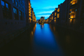 Wide perspective of Warehouse District - Speicherstadt in twilight. Blue hour. Tourism landmark of - PhotoDune Item for Sale