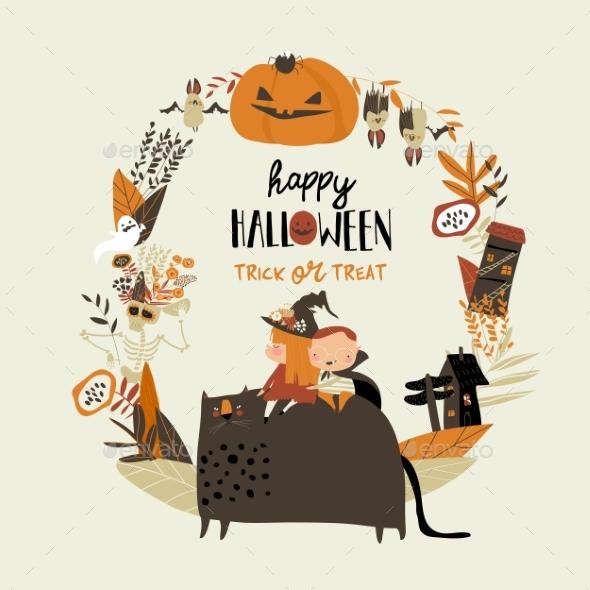 Cartoon Wreath with Halloween Elements