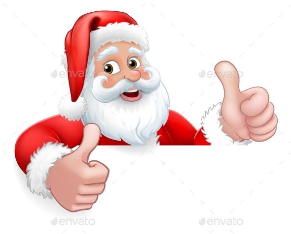 Santa Claus Christmas Peeking Thumbs Up Cartoon