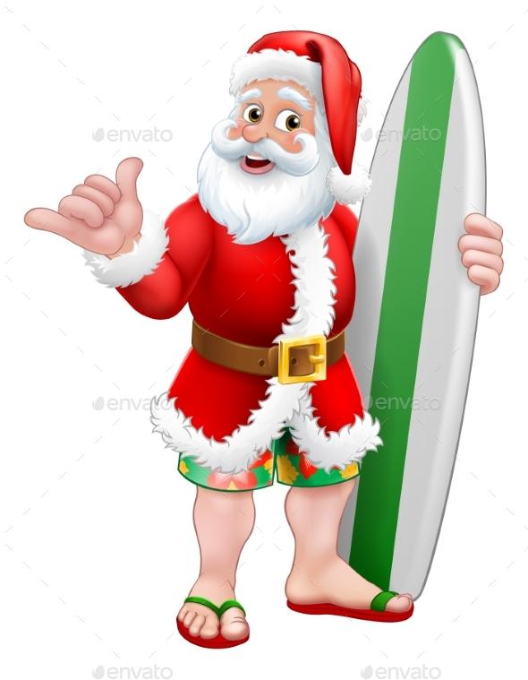 Surfing Shaka Santa Surfboard Christmas Cartoon