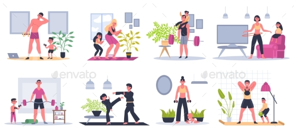 Home Family Fitness. Mother, Father and Kids