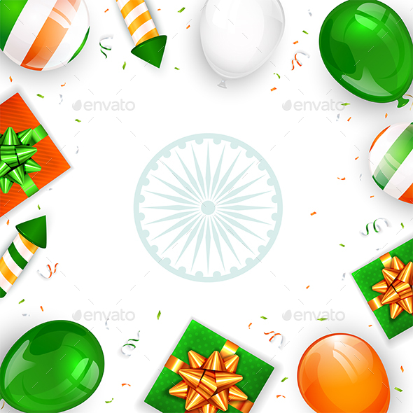 Balloons and Gifts of Indian Independence Day on White Background