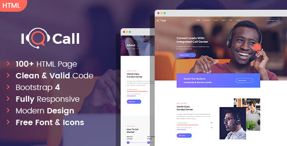 iQcall - Call center SinglePage and MultiPage HTML template