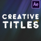 Creative Titles Pack | After Effects - VideoHive Item for Sale