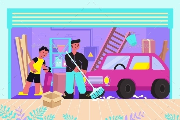 Cleaning Garage Flat Composition