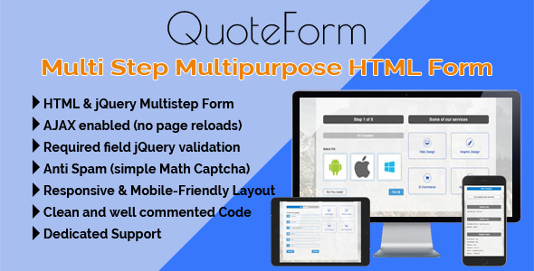 QuoteForm - Multi Step Multipurpose HTML Form