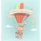 Pig Boy Fly with Balloon and Floral Wreath - GraphicRiver Item for Sale