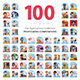 100 Professions Flat Illustrations - GraphicRiver Item for Sale