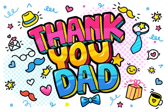 Thank You Dad Message in Pop Art Style