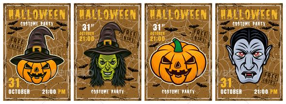 Set of Halloween Posters