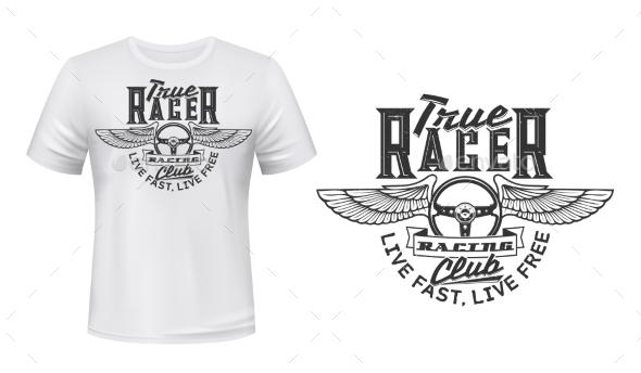 Winged Car Steering Wheel T-shirt Vector Print