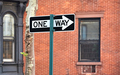 One way street sign in New York City. - PhotoDune Item for Sale